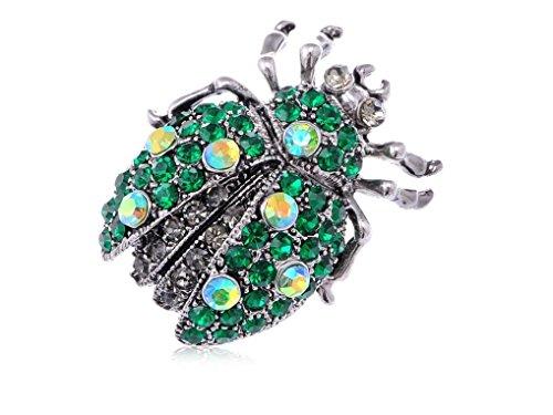 [Spicy Key Synthetic Emerald Green Rhinestone Ladybug Beetle Silver Tone Costume Brooch Pin] (Beetle Wings Costume)