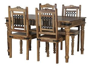 Classically Modern Jali Solid Sheesham Rosewood Dining Table & 4 Assembled Dining Chairs