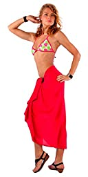 1 World Sarongs Womens Fringeless Swimsuit Cover-up Solid Sarong in Red