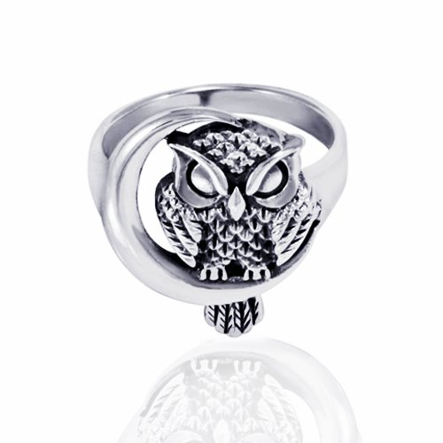Features Chuvora 925 Sterling Silver Oxidized Detailed Midnight Owl ...