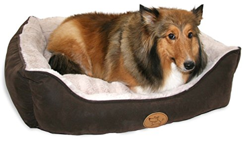 Best Pet Supplies Faux Leather Square Bed, Small, Dark Brown (S)
