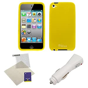 GTMax 3 Pieces -Yellow Silicone Soft Case+USB Car Charger+LCD Screen Protector For iPod Touch 4th Gen