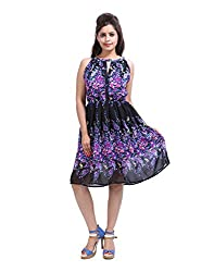 Elegant Black Dress Faux Georgette Printed Floral Medium For Womens By Rajrang
