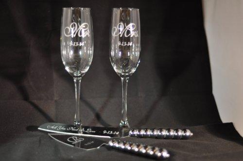 Custom Wedding Flute & Knife Set
