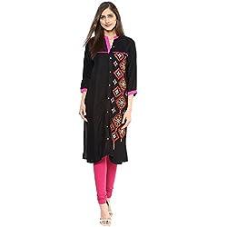 Luck In Women's Poly Cotton Straight Kurti (LIN102BK_Black_XXL)