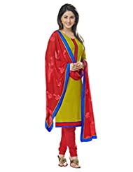 Inddus Women Green & Red Colored Cotton Blend Dress Material