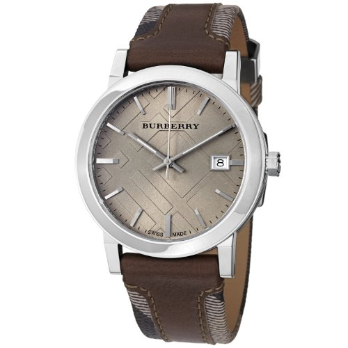 Burberry Men's BU9020 Large Check Leather on Canvas Strap Watch