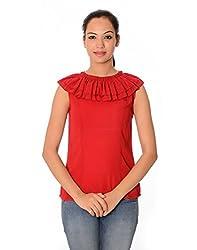 Oviya Women's Red Solid Tops