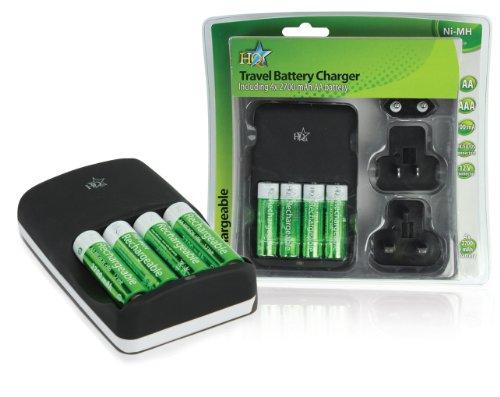 Chargeur de batteries ultra rapide pour accu aa ou aaa livré avec 4 batteries AA 2700 mAh