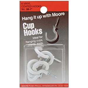 Vinyl Coated Cup Hooks 1 inch 6/pkg-white, by Moore Push Pin - the height of modern technology applied to a household standard