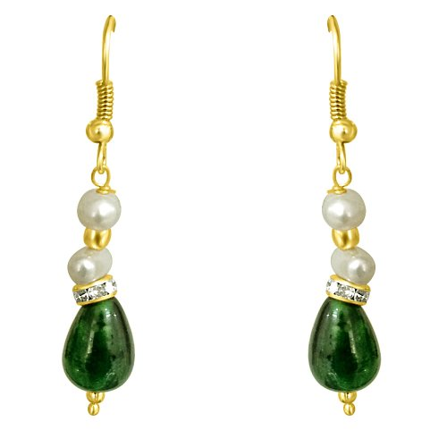 Surat Diamonds Surat Diamonds Drop Green Stone & Freshwater Pearl Earrings For Women (SE193) (Multicolor)
