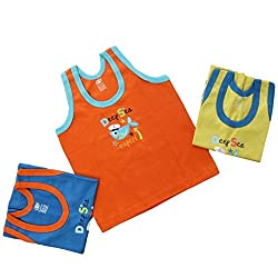 Baby Bucket Printed Sleeveless Vests 3 Pcs. Set (color may vary.)3-6 Months, Orange