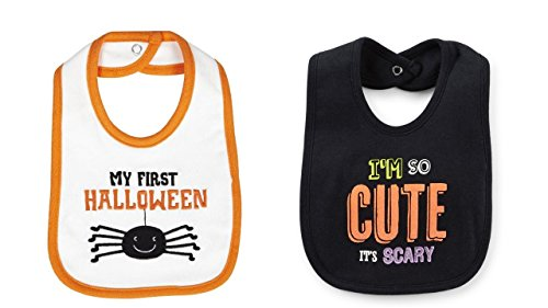 2 Carters Halloween Baby Bibs - My First Halloween (white) and Im So Cute Its Scary (black)