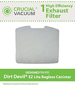 1 Dirt Devil Foam Exhaust Filter; Fits Dirt Devil Easy Lite Canister Vacuums; Compare to Part # 2KQ0104000; Designed & Engineered by Crucial Vacuum