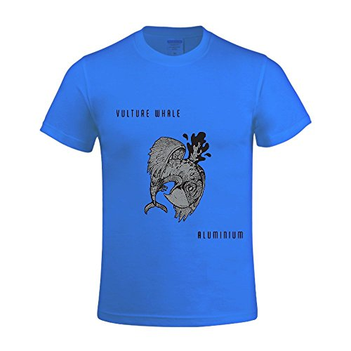 Aluminium Vulture Whale Men T Shirts Round Neck Blue