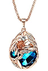 Drunk Wind Fashion Elegant Pendant Rose Gold Plated Beauty Lace Flower Deluxe Style Blue Necklace