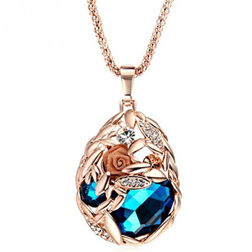 The Starry Night Rose Gold Color Blue Crystal Flower Necklace For Fashion Females