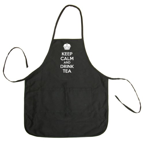 Tasty Threads Keep Calm And Drink Tea Unisex Chef Apron (Black, One Size)