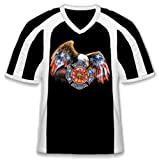Fire And Rescue With Eagle Jersey Style T-shirt, American Flag Bald Eagle Mens Firefighter V-Neck Tee