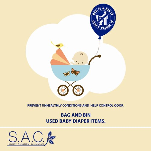 "S.A.C Lp4040 Non Adhesive Baby Diaper Disposal Sign, 5"" Width X 5"" Height (Case Of 12) front-431632"