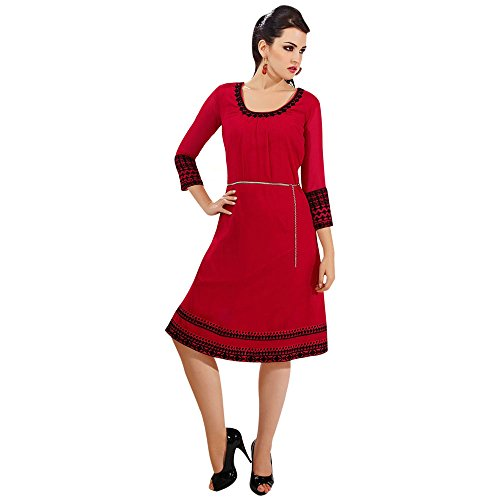 Red Georgette Kurti With Floral Embroidery Work