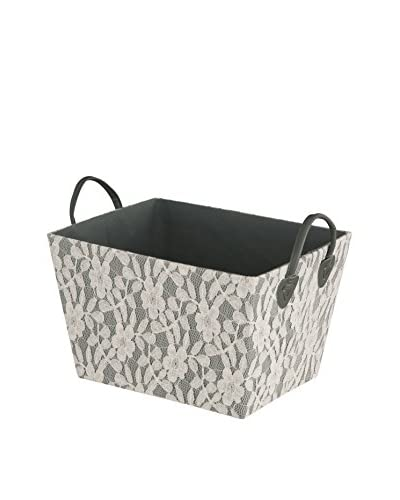 Organize It All Medium Lace Basket, Grey/White Lace