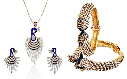 Youbella Multicolor Bangles Set And Pendant Set With Chain And Earrings For Women