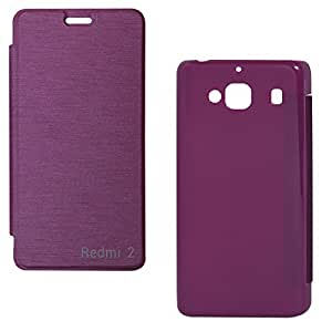 DMG Premium Flip Cover Case For Xiaomi Redmi 2 (Purple)