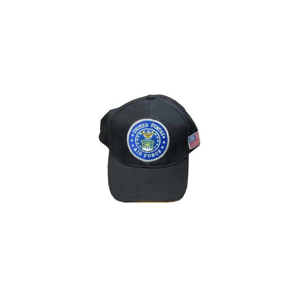 NEOPlex Embroidered Military Baseball Cap/Hat   Air Force   Black