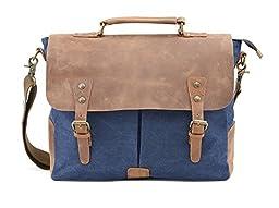 Gootium Vintage Canvas Messenger Bag 15.6 Inch Laptop Shoulder Bag, Navy