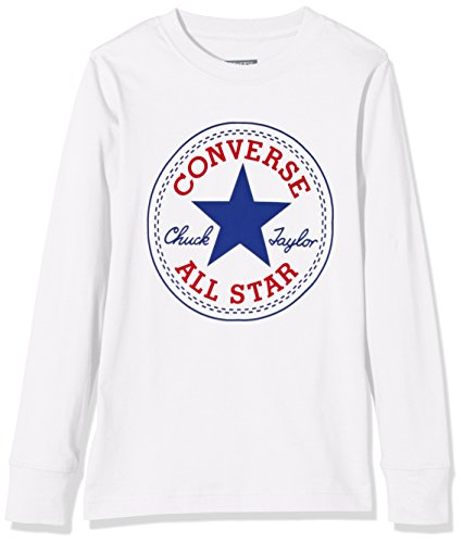 Converse Chuck Patch Long Sleeve, T-Shirt Bambino, Bianco (White), Medium (Taglia Produttore: 10-12Y)