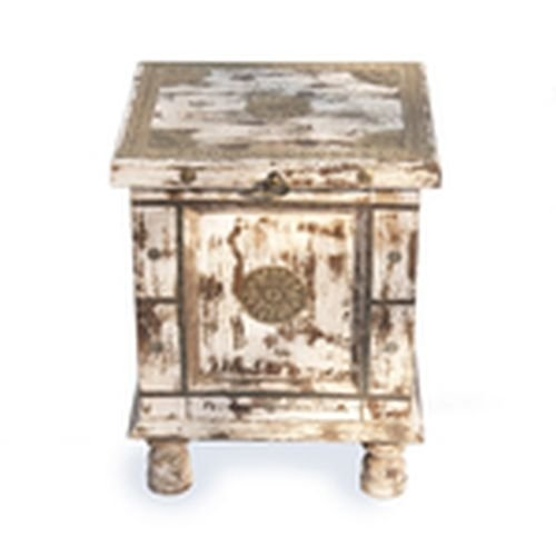 Distressed Ivory Side Accent Table