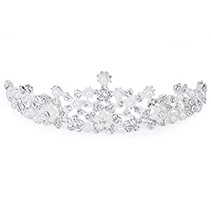 Pixnor Tinksky Elegant Crystal Rhinestone Faux Pearl Flower Crown Headband Veil Tiara Wedding Bridal Prom