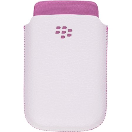 Research In Motion Leather Pocket – BlackBerry Torch 9800 – White w/ Pink Accent