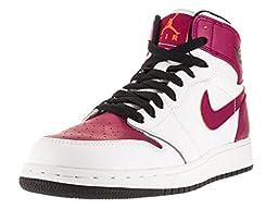 Nike Jordan Kids Air Jordan 1 Retro Hight GG White/Black/Sprt Fuchsia/Ht Lv Basketball Shoe 7 Kids US