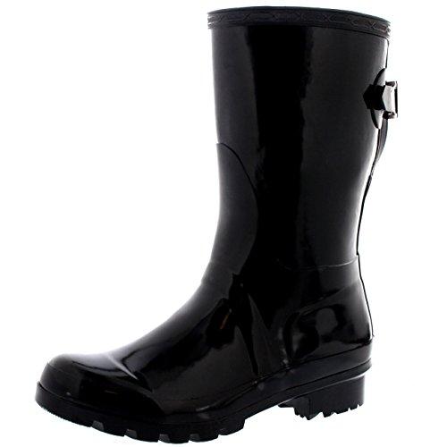 Womens-Original-Short-Adjustable-Back-Gloss-Rain-Rubber-Festival-Wellies