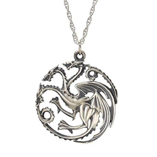 Game of Thrones Inspired Targaren Silver Color Pendant Costume Necklace