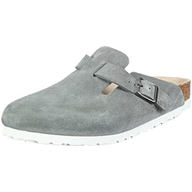 Birkenstock clogs Boston from Suede in Grey with a narrow insole size 46.0 N EU