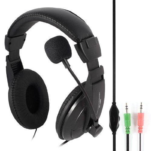 Black Adjustable 3.5Mm Stereo Dynamic Headphone W Mic For Pc Gaming