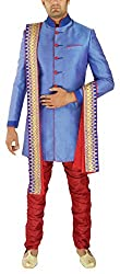 Re Channel Men's Silk Sherwani (T36763_42, Blue and Red, 42)