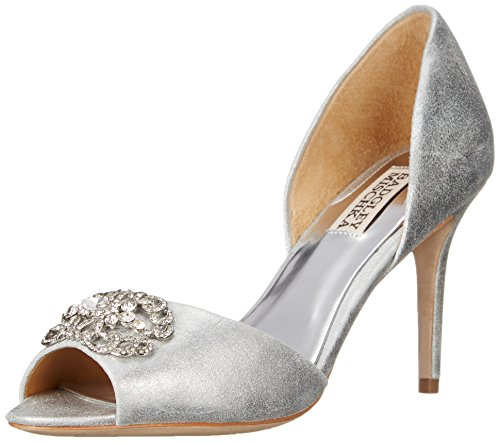 Badgley Mischka Women's Seneca II D'Orsay Pump, Silver, 7.5 M US