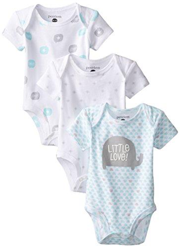 Petit Lem Baby-Boys Newborn 3 Pack Bodysuits, A Elephant, 6 Months