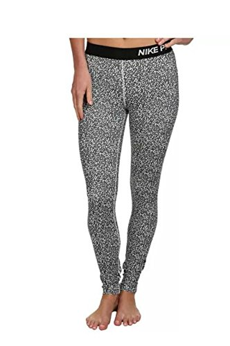 NIKE PRO women's 744839 Athletic DRI-FIT Running Leggings black/white (L)