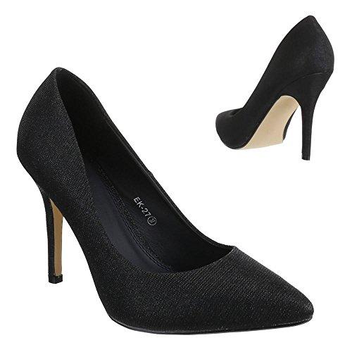 Ital-Design - Scarpe con Tacco Donna , Nero (nero), 38 EU