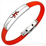 New Red Rubber Bracelet with Stainless Steel Lizard Design, Length 22cms.