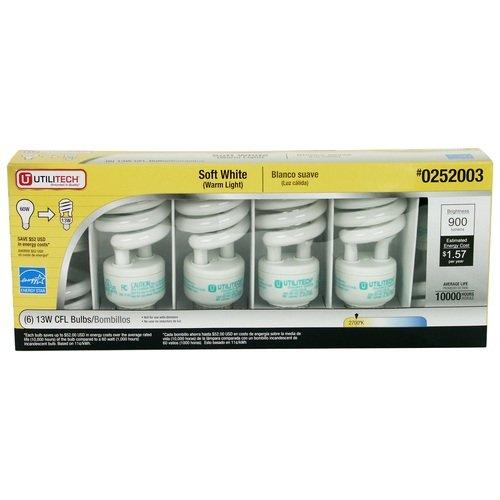 Utilitech 13 Watt Cfl Spiral Fluorescent Light Bulb, 60 Watt Equivalent, Soft White (6 Pack)