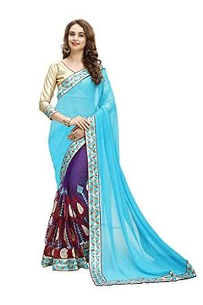 Maruti Fashion Women'S Georgette & Net Saree (Nika Sky Blue Red H_Sky Blue)