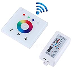RGB 2.4G Wireless wall switch touch controller led dimmer for DC12V LED Neon flex strip lights (White controller shell)