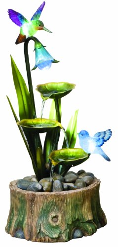 Easy Fountain Nature Glow Blue Bird Pond Includes LED Lights