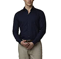 Lisova Men's Formal Shirt (LI/SHRT/086_Dark Blue_XX-Large)